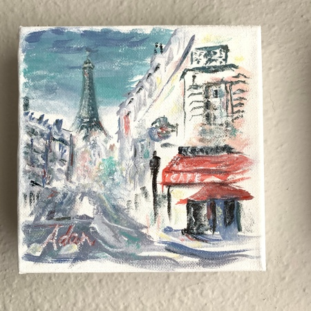 A Walk in Paris With a View of the Eiffel Tower ©Felipe Adan Lerma watercolor on absorbent ground, May 2020