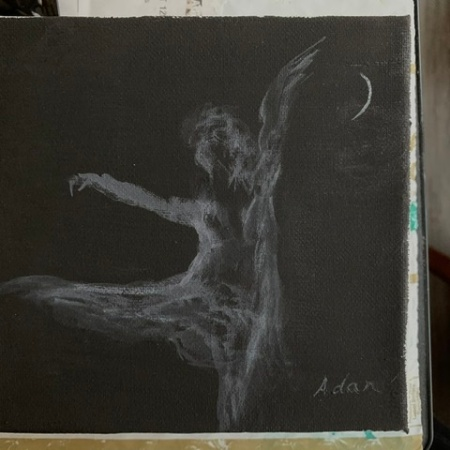 Dancer in Moonlight ©Felipe Adan Lerma black absorbent ground watercolor April 2020