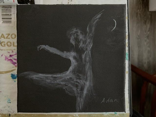 Dancer in Moonlight ©Felipe Adan Lerma black absorbent ground watercolor April 2020