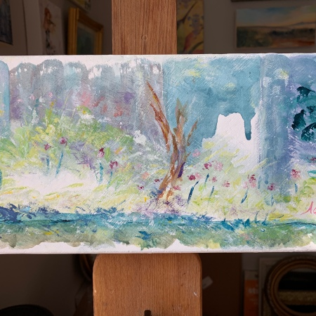 A Walk Among the Wildflowers ©Felipe Adan Lerma May 2020, watercolor w/white gouache on absorbent ground