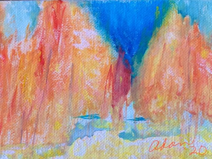 Fall Color 1 Macro Crop Watercolor ©Felipe Adan Lerma on Golden White Absorbent Ground