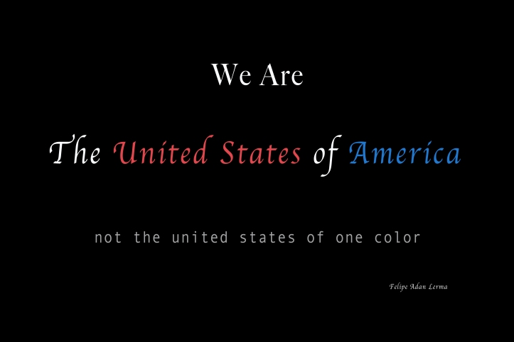 We Are the United States of America not the United States of one color ©Felipe Adan Lerma https://fineartamerica.com/featured/we-are-the-united-states-of-america-felipe-adan-lerma.html