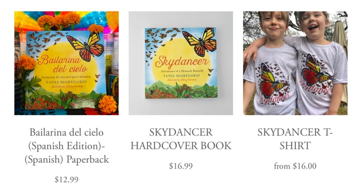 Skydancer the book, English & Spanish Editions + T-shirt ©Tania DeGregorio https://www.skydancerbook.com/order-book