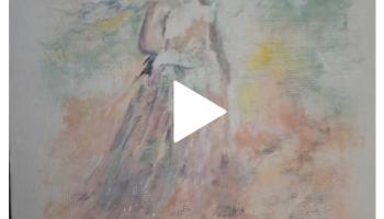 Video screenshot New watercolors Sept / Oct 2020 ©Felipe Adan Lerma - modeled after Monet's Woman with a Parasol