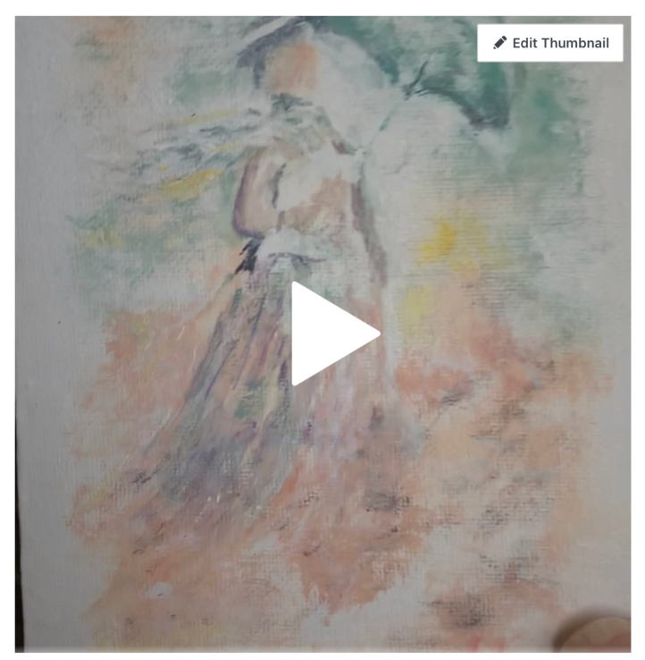 Video screenshot New watercolors Sept / Oct 2020 ©Felipe Adan Lerma - modeled after Monet's Woman with a Parasol