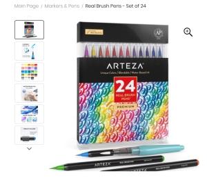 Arteza Watercolor Brush Pens 24 https://amzn.to/3nEWYk7