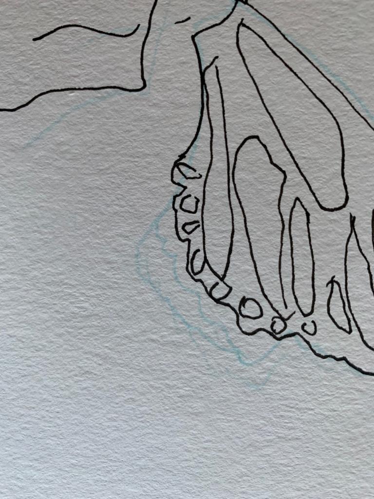 Experimental acrylic vertical w/notations ©Felipe Adan Lerma on 130lb laser paper 01.28.21