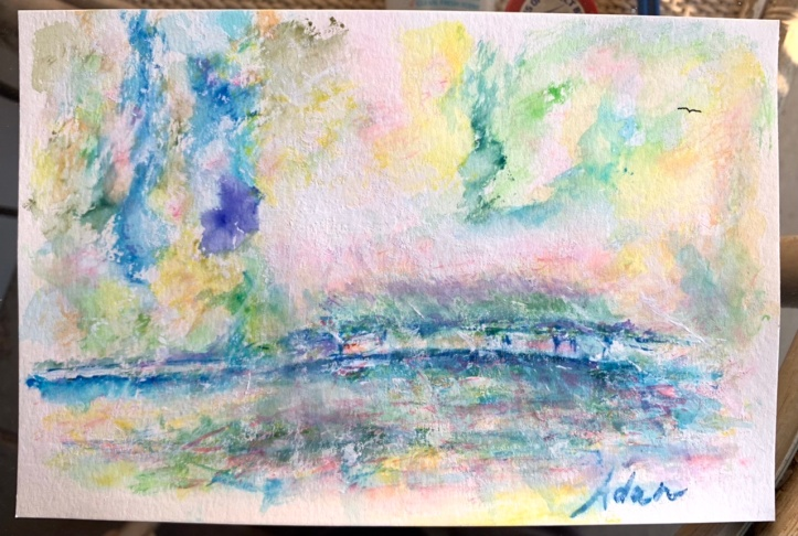 Garden April Rain in Giverny ©Felipe Adan Lerma 6x9 watercolor on paper 01.07.21