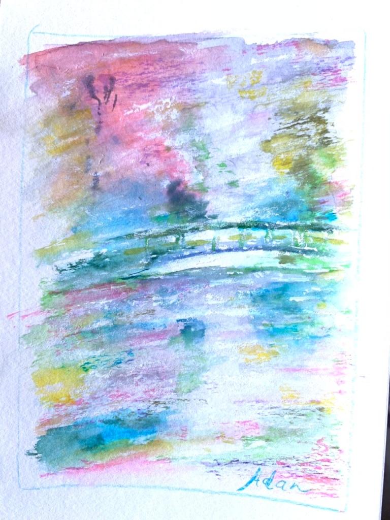 Monet's Garden ©Felipe Adan Lerma my painting from my 2001 photo, watercolor on paper