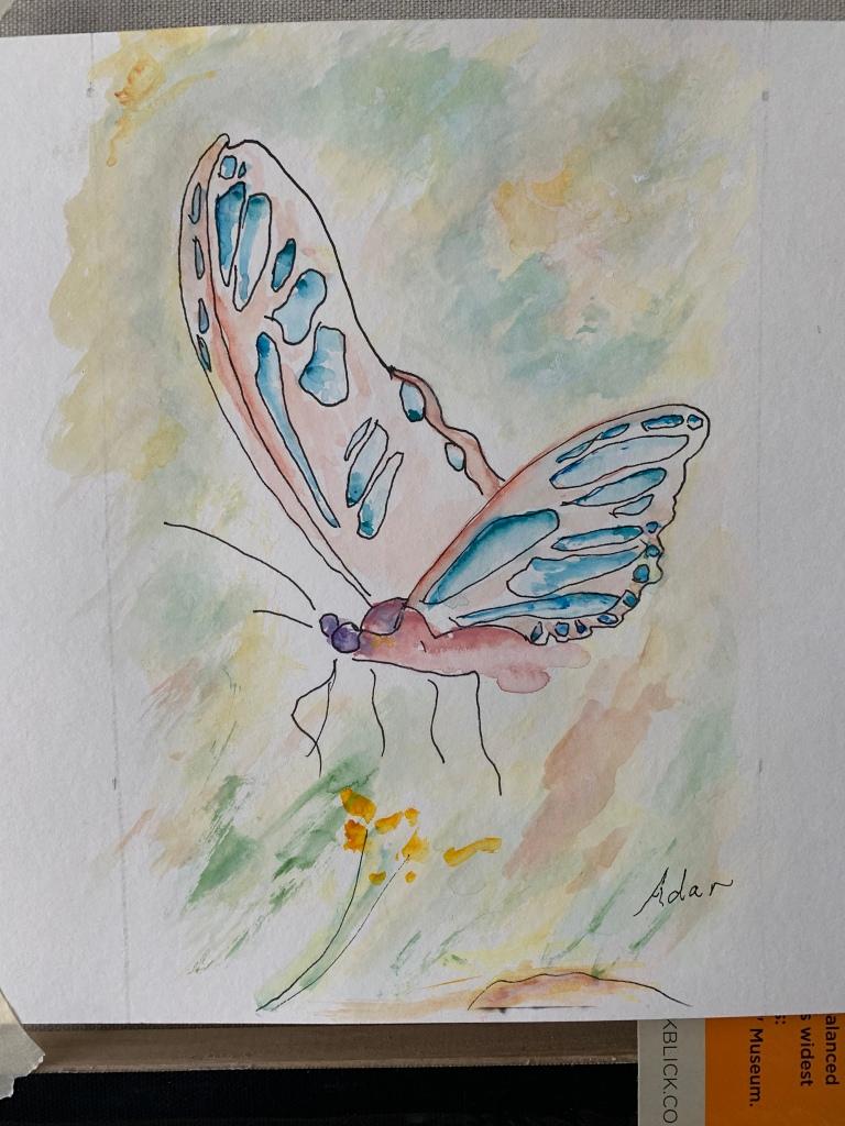 In-progress watercolor Butterfly on paper ©Felipe Adan Lerma 01.29.21
