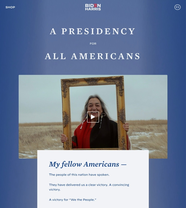 Joe Biden website https://joebiden.com/presidency-for-all-americans/