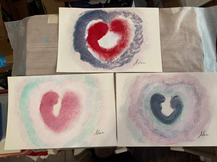 6x9 acrylic Hearts in-progress 01.21.21 ©Felipe Adan Lerma