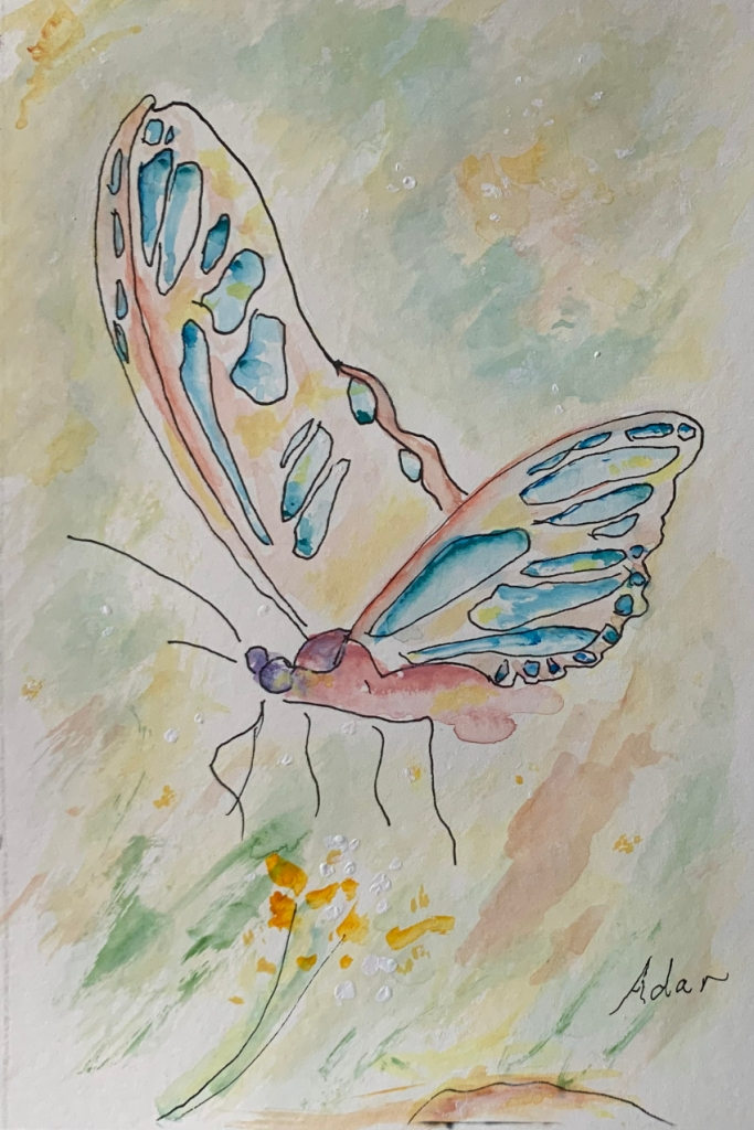 Floating Butterfly 1 ©Felipe Adan Lerma Pen and Ink with Watercolor https://felipeadan-lerma.pixels.com/featured/floating-butterfly-1-pen-and-ink-with-watercolor-felipe-adan-lerma.html