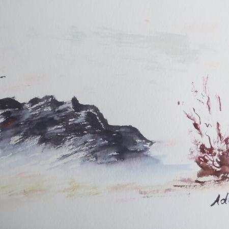 Charcoal Mountain ©Felipe Adan Lerma watercolor on Paper https://felipeadan-lerma.pixels.com/featured/charcoal-mountain-felipe-adan-lerma.html