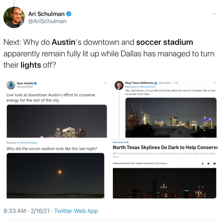 Contrast Dallas and Austin lights use during #TexasFreeze via Ari Schulman @AriSchulman https://twitter.com/arischulman/status/1361685147402317824?s=21