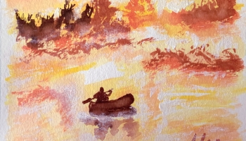 Rowing With the Sun @Felipe Adan Lerma Watercolor on Paper https://felipeadan-lerma.pixels.com/featured/rowing-with-the-sun-felipe-adan-lerma.html