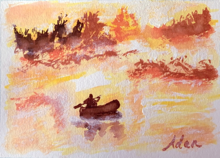 Rowing With the Sun @Felipe Adan Lerma Watercolor on Paper https://felipeadan-lerma.pixels.com/featured/rowing-with-the-sun-felipe-adan-lerma.html
