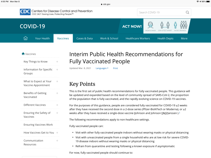 Interim CDC Public Health Recommendations for Fully Vaccinated People March 08, 2021
