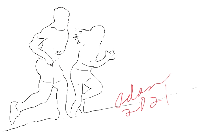 Line art for Jogger poster ©Felipe Adan Lerma 03.14.21