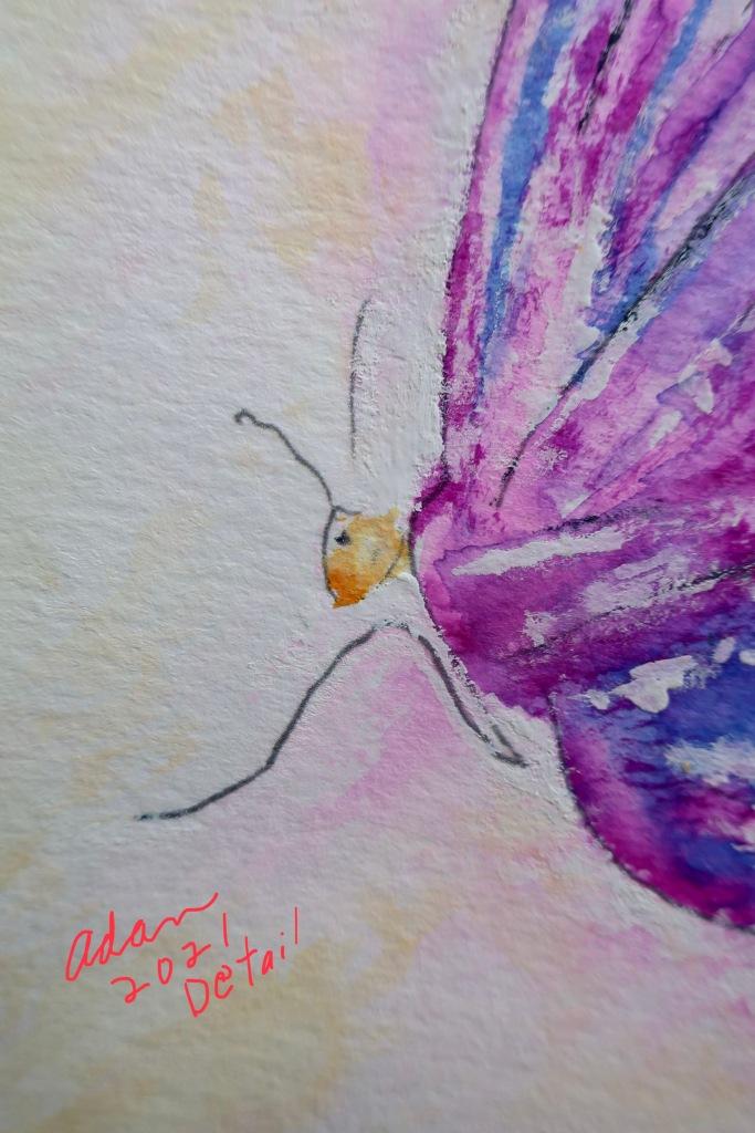 Sky on Fire Butterfly face detail ©Felipe Adan Lerma watercolor on paper https://felipeadan-lerma.pixels.com/featured/sky-on-fire-butterfly-felipe-adan-lerma.html