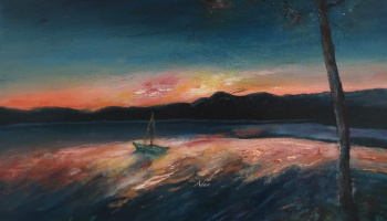 Malletts Bay Sunrise Colchester Vermont ©Felipe Adan Lerma 11x14 oil on canvas https://felipeadan-lerma.pixels.com/featured/malletts-bay-sunrise-colchester-vermont-felipe-adan-lerma.html