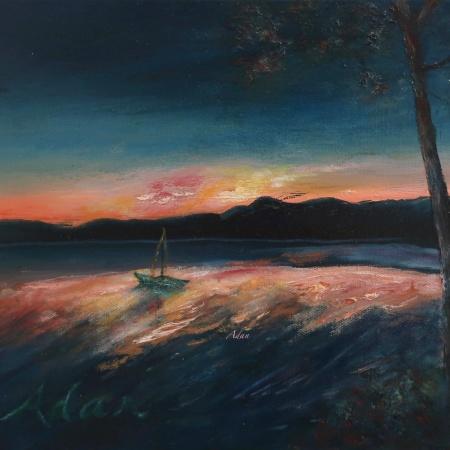 Malletts Bay Sunrise Colchester Vermont ©Felipe Adan Lerma 11x14 oil on canvas https://felipeadan-lerma.pixels.com/featured/malletts-bay-sunrise-colchester-vermont-felipe-adan-lerma.html