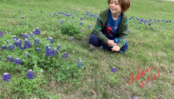 Max on our 1st Texas Bluebonnets sighting 03.27.21 ©Felipe Adan Lerma