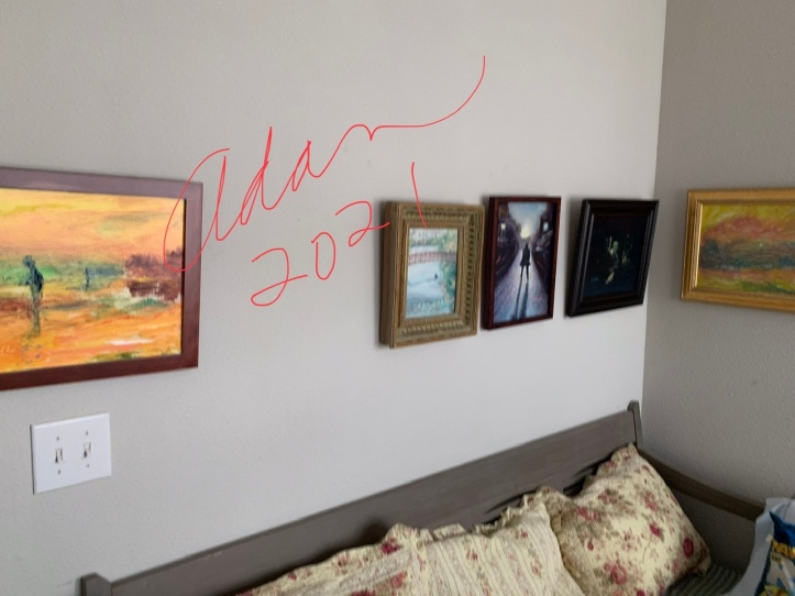 Taking images off the walls for a move 04.12.21 - variety of painting from 2000s & 2010s ©Felipe Adan Lerma - all but 1 of these paintings seen at : https://felipeadan-lerma.pixels.com/collections/paintings