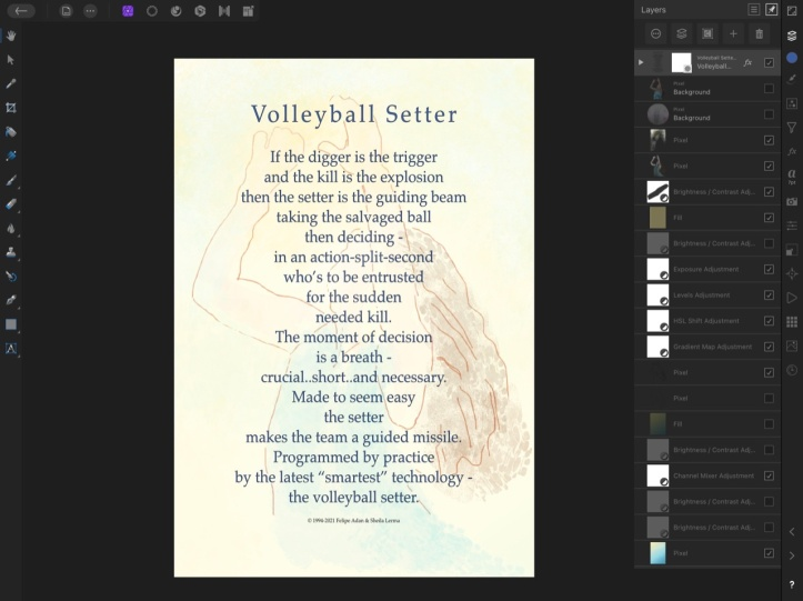 Volleyball Setter Poster 2 layers via my Affinity Photo Dashboard https://amzn.to/3fI7OF7