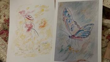 Adan's watercolor prints for reopening of the Old Bakery & Emporium 2021 ©Felipe Adan Lerma