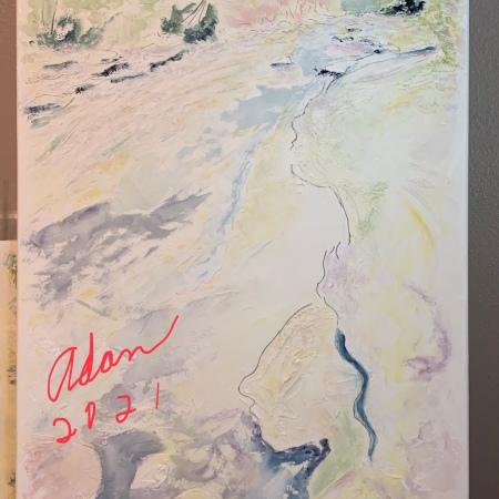 New watercolor with pen & ink 25x40 inch stretched canvas Barton Creek Greenbelt work in progress ©Felipe Adan Lerma