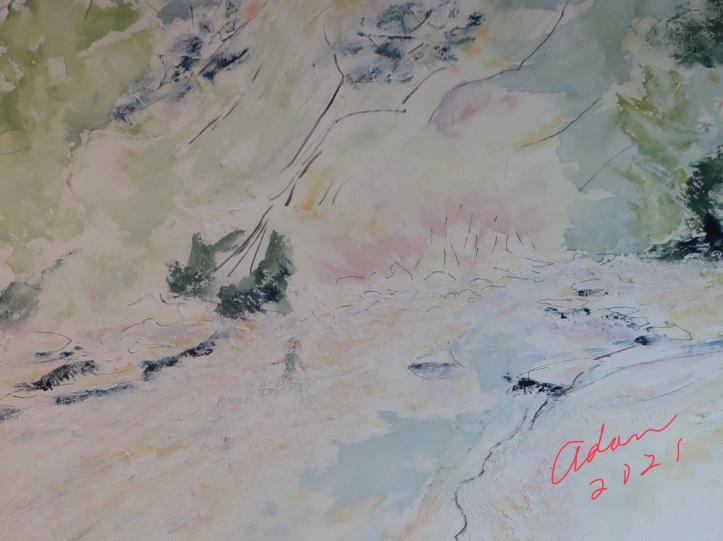 Detail, Barton Springs Greenbelt Indian Summer Watercolor ©Felipe Adan Lerma https://felipeadan-lerma.pixels.com/featured/barton-springs-greenbelt-indian-summer-watercolor-felipe-adan-lerma.html