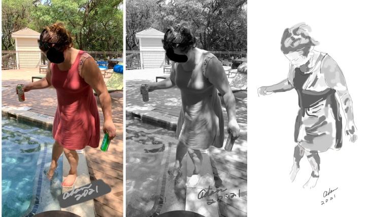 Figure photo, line art & value study ©Felipe AdanLerma for 25x40 Austin Greenbelt watercolor on canvas 07.22.21