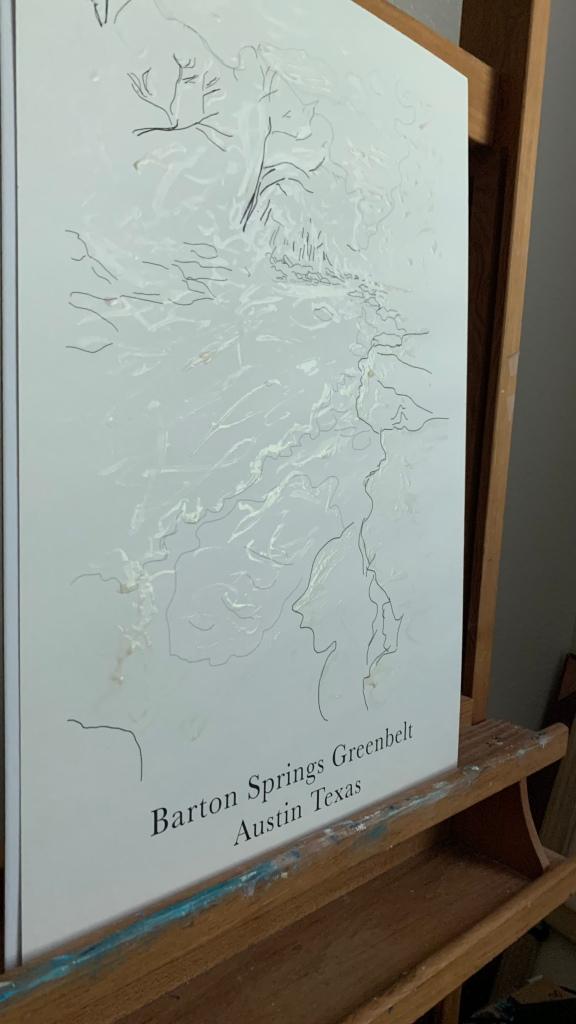 Masking fluid on Barton Springs Greenbelt line art poster ©Felipe Adan Lerma