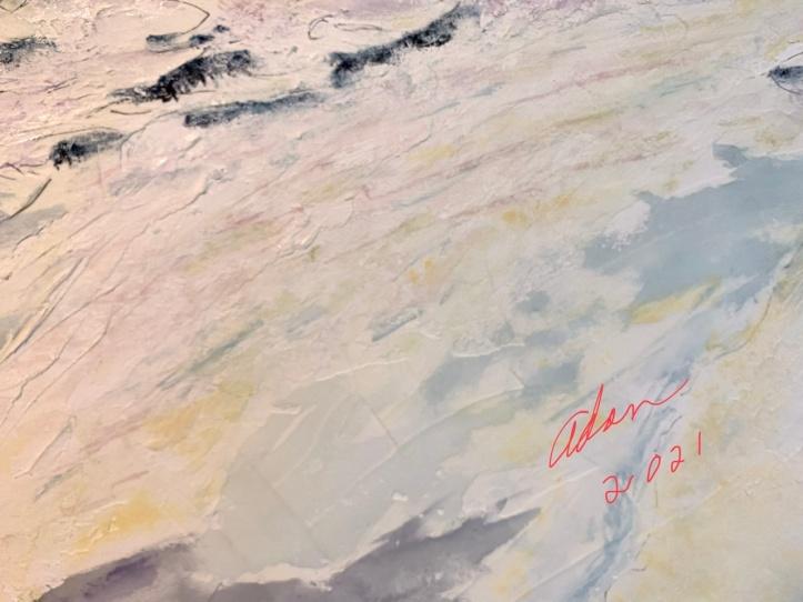 Detail, New watercolor with pen & ink 25x40 inch stretched canvas Barton Creek Greenbelt work in progress ©Felipe Adan Lerma