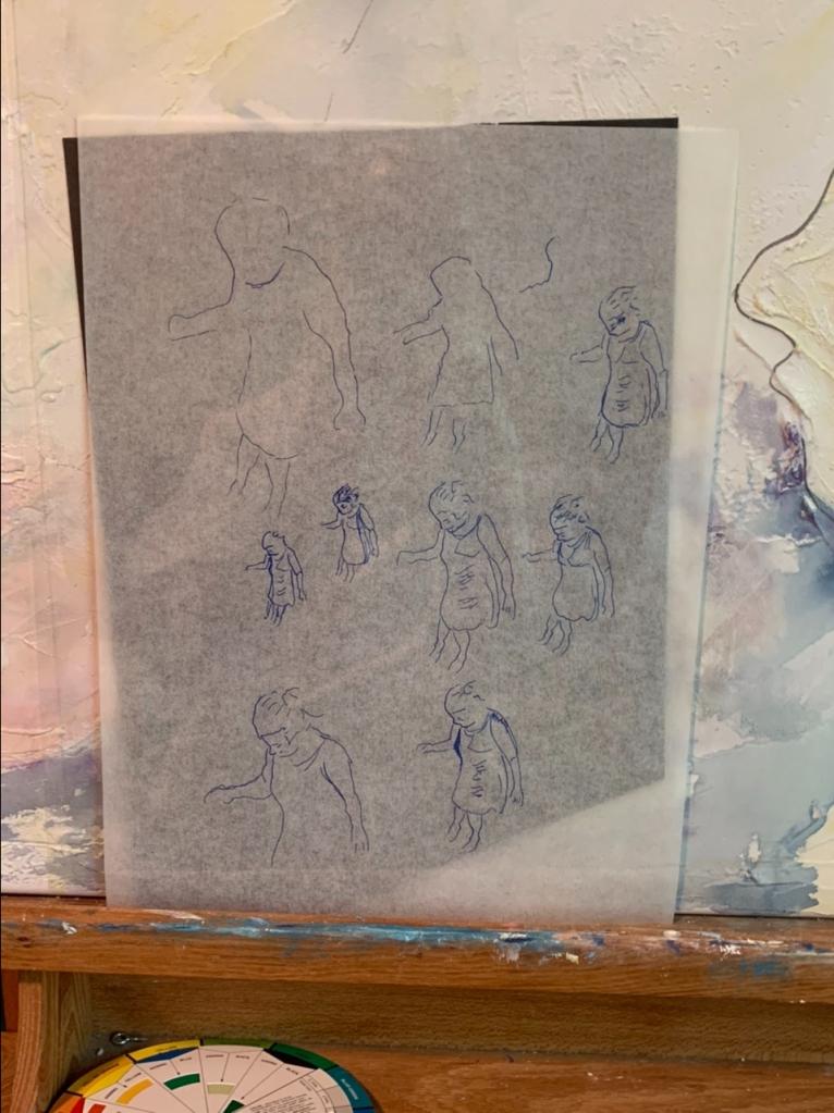 Figure studies for new watercolor with pen & ink 25x40 inch stretched canvas Barton Creek Greenbelt work in progress ©Felipe Adan Lerma
