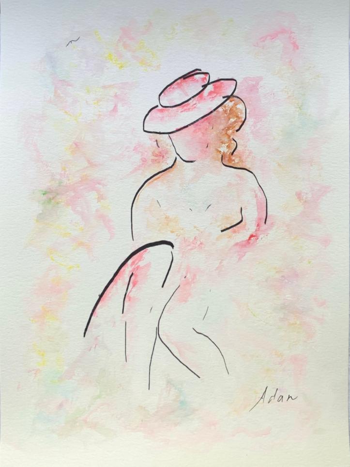 Summer is a Lady ©Felipe Adan Lerma - watercolor on paper with line art https://felipeadan-lerma.pixels.com/featured/summer-is-a-lady-felipe-adan-lerma.html