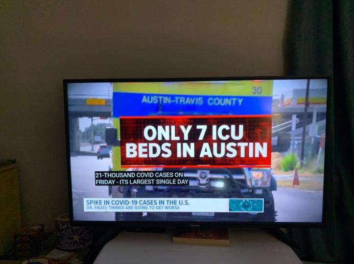 The Resurgence of Covid-19 August 2021, screenshot via KVUE news Austin https://www.kvue.com/