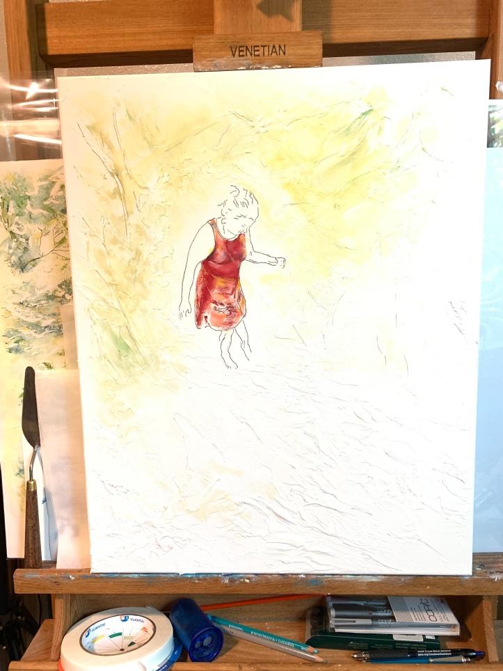 Refining initial figure work + background start for Testing the Water, 16x20 acrylic on Golden Light Molding Paste ©Felipe Adan Lerma