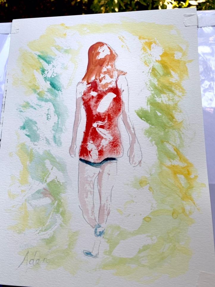 Walking in Dappled Light Study 1, Masking fluid removed, #Watercolor on Paper @Felipe Adan Lerma September 2021