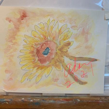 Sunflower in Dappled Light Study 1 ©Felipe Adan Lerma, watercolor on paper with masking fluid