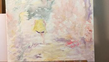 Started painting figure overlay w/light molding paste over Watercolor on light molding paste on canvas (possible title, Fantasy Walk) ©Felipe Adan Lerma