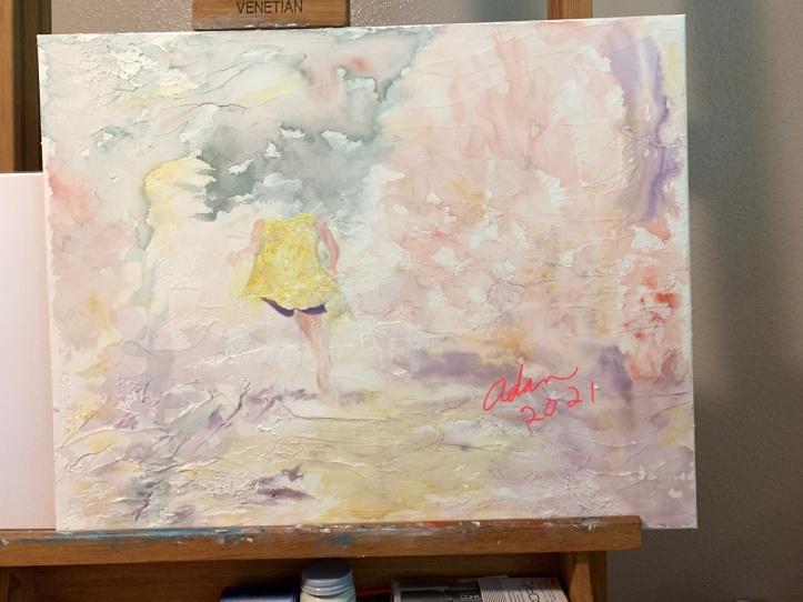Started painting figure overlay w/light absorbent ground over Watercolor on light absorbent ground (possible title, Fantasy Walk) ©Felipe Adan Lerma