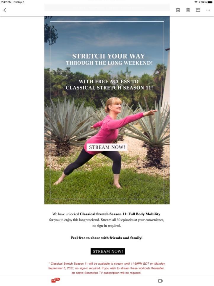 Classical Stretch on Labor Day Weekend 2021 via Essentrics, with Miranda Esmonde-White https://www.essentricstv.com/classical-stretch-season-11-full-body-mobility