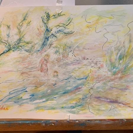 "Continued development of ""Figures in a Landscape Study"", 3rd rendition ©Felipe Adan Lerma September 2021"