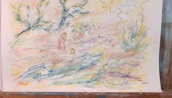 "Continued development of ""Figures in a Landscape Study"", 2nd rendition ©Felipe Adan Lerma September 2021"