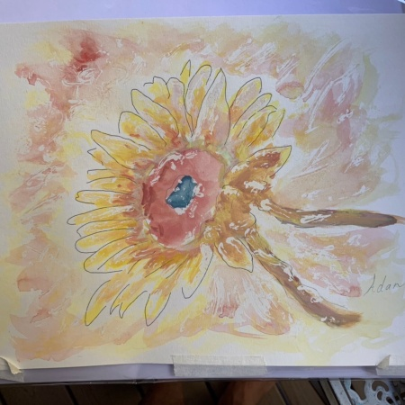 Sunflower in Dappled Light Study 1 2nd rendition ©Felipe Adan Lerma, watercolor on paper with masking fluid, Sept 2021