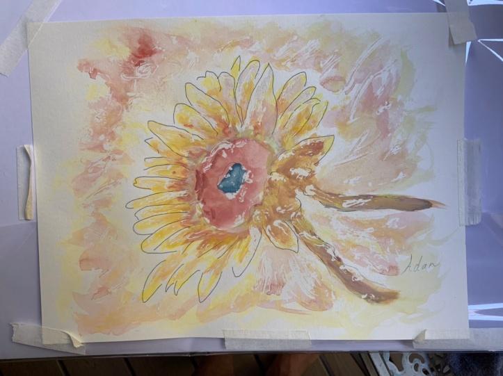 Sunflower in Dappled Light Study 1 2nd rendition ©Felipe Adan Lerma, watercolor on paper with masking fluid
