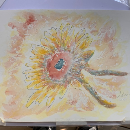 Sunflower in Dappled Light Study 1 3rd rendition ©Felipe Adan Lerma, watercolor on paper with masking fluid, Sept 2021