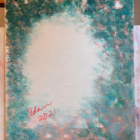 Acrylic over watercolor over light molding paste (possible title, Holiday Walk) ©Felipe Adan Lerma